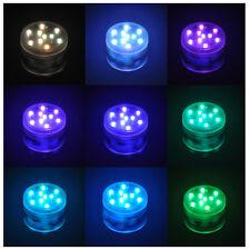 Waterproof RGB LED Multicolor Round Aquarium Fish Tank Submersible Decorat Light