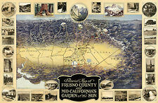 1919 Pictorial Map Fresno County and Mid-California's Garden of the Sun Poster