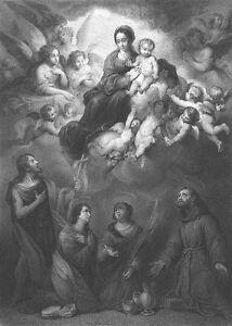 VIRGIN MARY BABY JESUS CHRIST & Heaven Angels ~ 1875 BIBLE Art Print Engraving