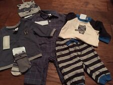 NWT Gymboree Baby Boy Raccoon 7-piece Layette Outfit SET Jacket Hat Romper 3 6