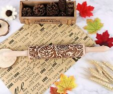 JFD 14 Inches Engraved Wooden Rolling Pin with Pattern for Embossed Cookies