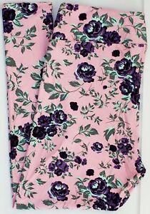 TC2 LuLaRoe Tall & Curvy2 Leggings Cute Purple Blue Roses on Pink Flower NWT G32