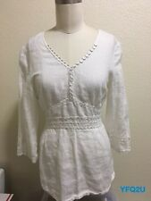 ANNE FONTAINE PARIS Sz-42 CHARLETTE LINEN SWEETHEART NECKLINE TIE-BACK TUNIC TOP