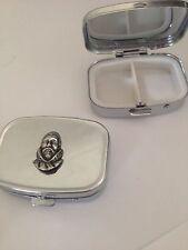 Francis Drake R174 English Pewter Emblem on a Rectangular Travel Metal Pill Box