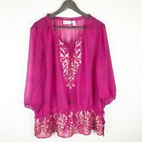 Chicos Womens Top Sz 3 XL Pink Polka Dot Gold Damask Print Sheer Notch Tie Neck