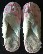 LADIES PINK HEARTS SLIPPER MULES SIZE 8