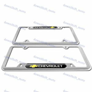 2PCS For CHEVY CHEVROLET Black Silver Metal Stainless Steel License Plate Frame