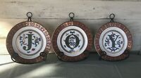 Vintage Set Of 6 Metal Easels  & Joy Plates Retired Home Interiors & Gifts