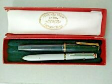 OLD Bakelite Fountain Pen POBEDA + 3 colors ballpoint +box FOR SPARES AND REPAIR