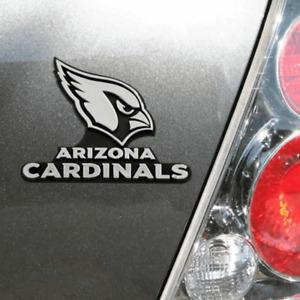 Arizona Cardinals 3D Emblem Raised Chrome Color Die Cut Auto NFL Decal Sticker