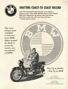 1959 John Penton & BMW R-69 - Coast to Coast Record - Vintage Motorcycle Ad