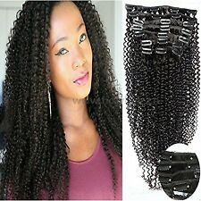 Art of Love 100% Human Hair Afro Kinky Curly Clip in Hair Extensions Natural ...