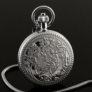 Mens Pocket Watch Mechanical Silver Case Hand-winding Tourbillon Moon Luxury