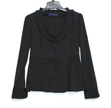 Erin Snow - M - Solid Black Box Pleated Scoop Neck - Princess Seamed Blouse