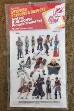 TSR D&D ADVANCED DUNGEONS DRAGONS Rub Down Transfer Player Characters 1600-4
