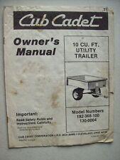 Original Cub Cadet 10 Cu Ft Utility Trailer Owners Manual
