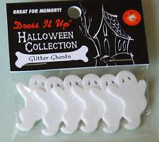 Glitter Ghosts / Halloween Shank Buttons / Dress It Up Jesse James Co / NIP