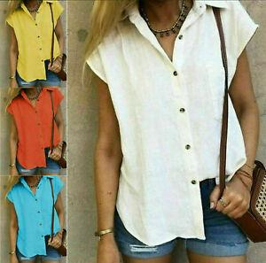 Womens Buttons V Neck Tops Ladies Cotton Linen Summer Short Sleeve T-Shirt