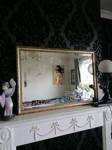 Vintage Large Gold Bevelled Etched Birds Ornate Frame Mirror
