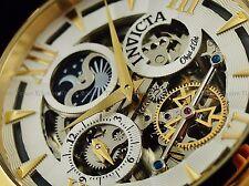 Invicta Men 47mm Ghost MoonFace Objet d'Art Skeleton Auto 18KGP Wht Strap Watch