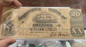 1861 T-18 $20 The Confederate States of America Note - CIVIL WAR Era