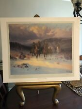 """G. Harvey - Pencil Signed """"Carefree Cowhands"""" - One Of His 1st Published Prints"""