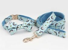 Rainbow With Clouds Dog Collar With Removable Bow And Lead