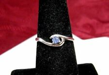 Vintage 925 Sterling Silver Swirl Small Round Blue Gem Stone Ring Size 7