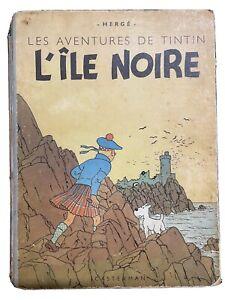 Tintin L'ile Noire B1 1946 Papier Epais - Dos Bleu- Hergé