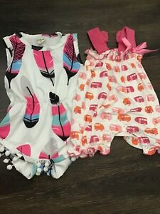 Baby Girl Lot Kickee Campers Romper Size 3-6 Months