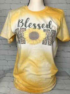Blessed Mom Sunflower Yellow Bleached Ladies Short Sleeve T Shirt Plus sizes