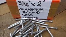 """25 x 3/16"""" x 2"""" Testa Rotonda SOLIDO ALLUMINIO RIVETTI Extra Lungo 50mm"""