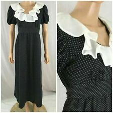 fd63791cdad Vtg. 70s 80s JC Penney Black Dot Prairie Modest Maxi Dress White Ruffle  Collar L