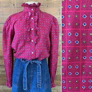 Size 12 Made in USA Vintage 1970s Stage 7 Blouse 34 Sleeve Collard Top