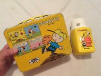 VINTAGE 1965 PEANUTS Charlie Brown Snoopy Metal Lunch Box w/ Thermos