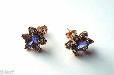 BEAUTIFUL Flower Style Genuine TANZANITE Earrings, 1.41CTW Designed in Solid 10K