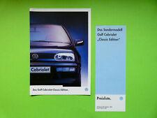 Prospekt / Katalog mit Preisliste VW Golf Cabriolet Classic Edition  05/97