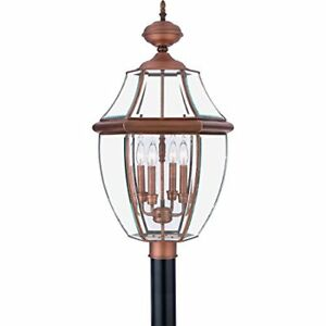 Quoizel NY9045AC 4-Light Newbury Outdoor Lantern in Aged Copper