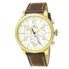 NWT TOMMY HILFIGER Men's Watch Brown Leather YELLOW GOLD Case JAKE 1791231 $165