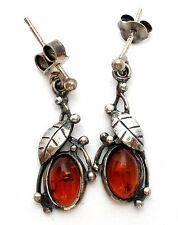 Natural Baltic Amber Sterling Silver Earrings Leaf Dangle Pierced 925 Vintage