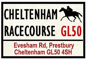 HORSE RACING ROAD SIGNS (CHELTENHAM) - FUN SOUVENIR NOVELTY FRIDGE MAGNET - GIFT