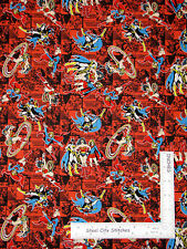 DC Comics Fabric - Super Hero Comic Characters Toss #23400407 Red-Orange  - Yard