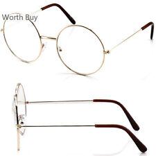 Gold Round Metal Frame Clear Lens Eye Glasses Fashion Oversized Large Eyewear