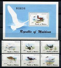MALEDIVEN MALDIVE 1980 Vögel Birds Uccelli Oiseaux 883-888 + Block 67 ** MNH