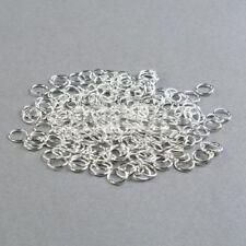 200x silberne Binderinge, Ösen, 8 mm, Biegeringe