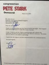 SIGNED TYPED letter from U.S. Rep. Pete Stark (CA) to John Rector (Lobbyist)
