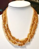 Vintage Amber Color Beaded 2 Strand Necklace
