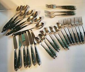 flatware vintage wood handle fork spoon knife
