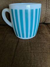 Vintage Hazel Atlas Turquoise Blue Candy Stripe Coffee Cup Mug
