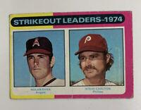1975 Nolan Ryan Steve Carlton 312 '74 Strikeout Leaders Topps Baseball Card HOF